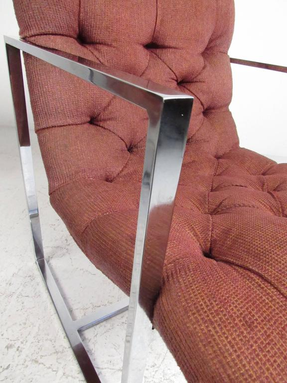 Upholstery Pair of Mid-Century Milo Baughman Style Lounge Chairs For Sale