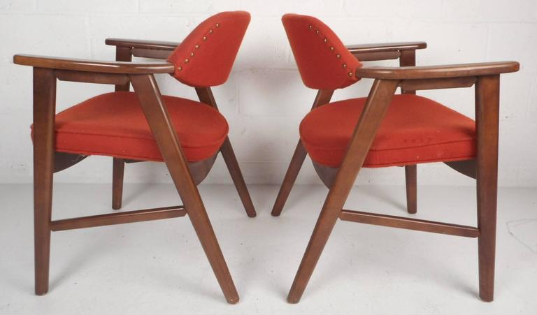 Pair of Scandinavian Modern Arm Chairs In Good Condition For Sale In Brooklyn, NY
