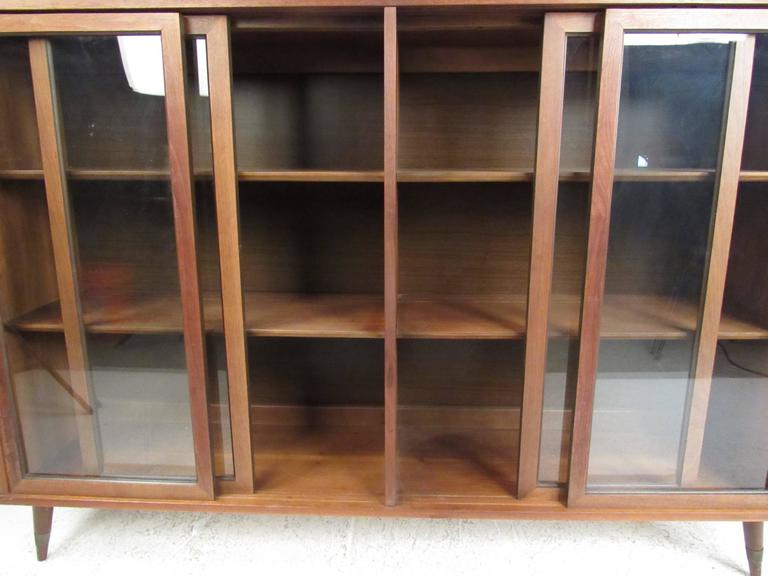 Mid-Century Modern Vintage Walnut China Cabinet or Bookcase For Sale