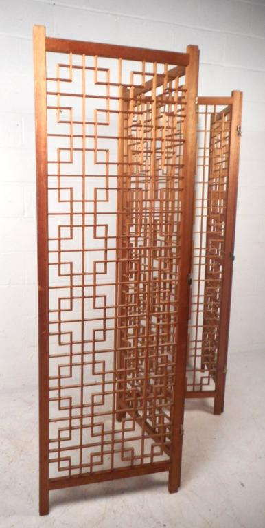 Mid-Century Modern Teak Four-Panel Lattice Folding Wall Divider In Good Condition For Sale In Brooklyn, NY