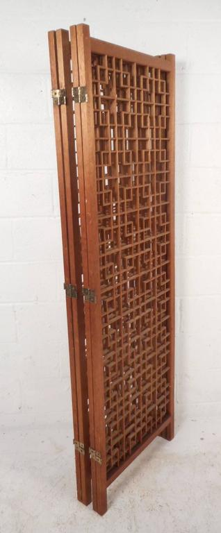 Late 20th Century Mid-Century Modern Teak Four-Panel Lattice Folding Wall Divider For Sale
