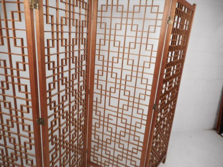 Mid-Century Modern Teak Four-Panel Lattice Folding Wall Divider For Sale 1