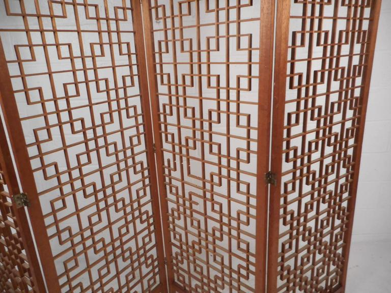 Mid-Century Modern Teak Four-Panel Lattice Folding Wall Divider For Sale 2