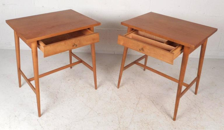 Brass Pair of Mid-Century Modern End Tables by Paul McCobb for Planner Group For Sale