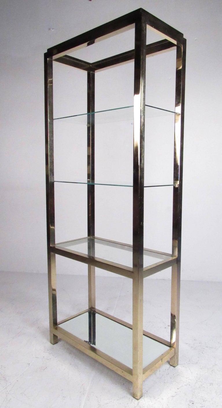 mid century modern polished brass etagere for sale at 1stdibs. Black Bedroom Furniture Sets. Home Design Ideas