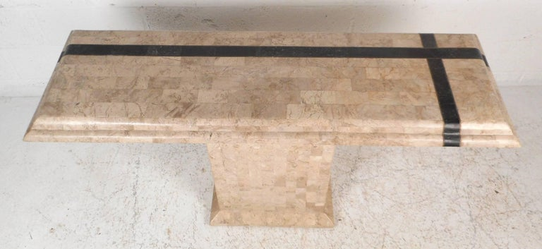 Amazing Mid-Century Modern Maitland-Smith Style Tessellated Stone Console Table For Sale 1