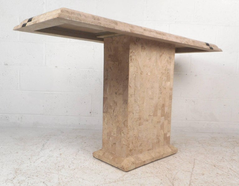 Amazing Mid-Century Modern Maitland-Smith Style Tessellated Stone Console Table In Good Condition For Sale In Brooklyn, NY