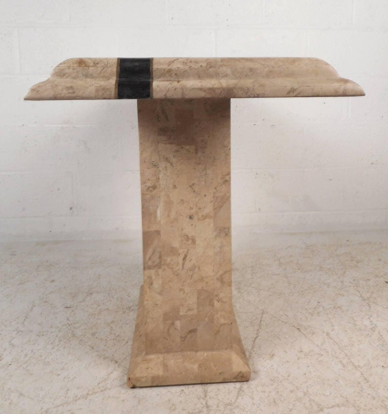 Late 20th Century Amazing Mid-Century Modern Maitland-Smith Style Tessellated Stone Console Table For Sale