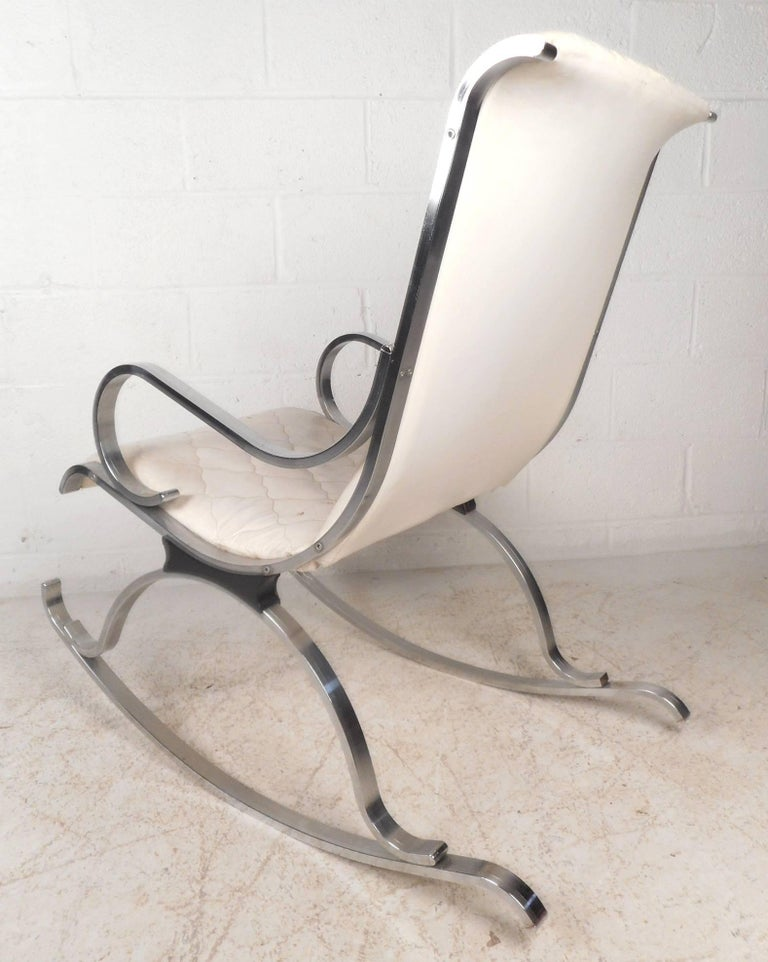 Mid Century Modern Leather And Chrome Rocking Chair For