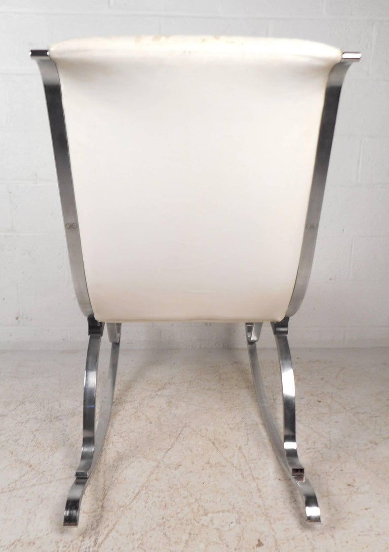 Mid century modern leather and chrome rocking chair for for Mid century modern leather chairs