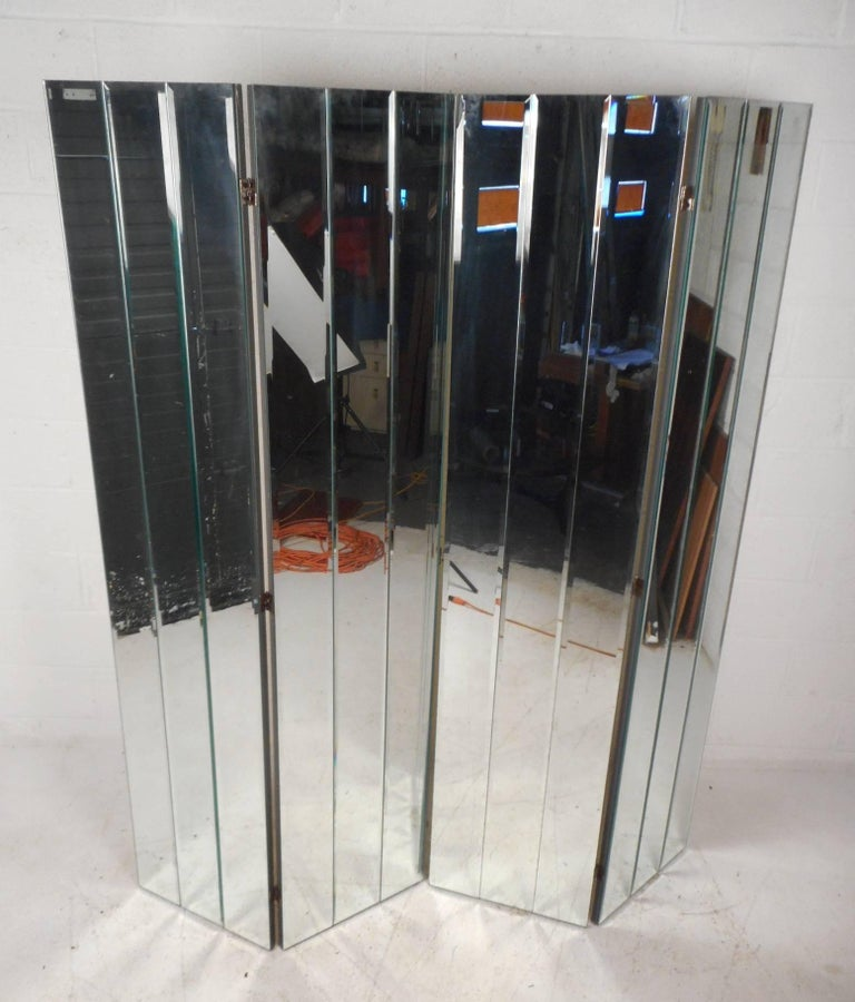 Stunning Mid-Century Modern Four-Panel Mirrored Room Divider 2