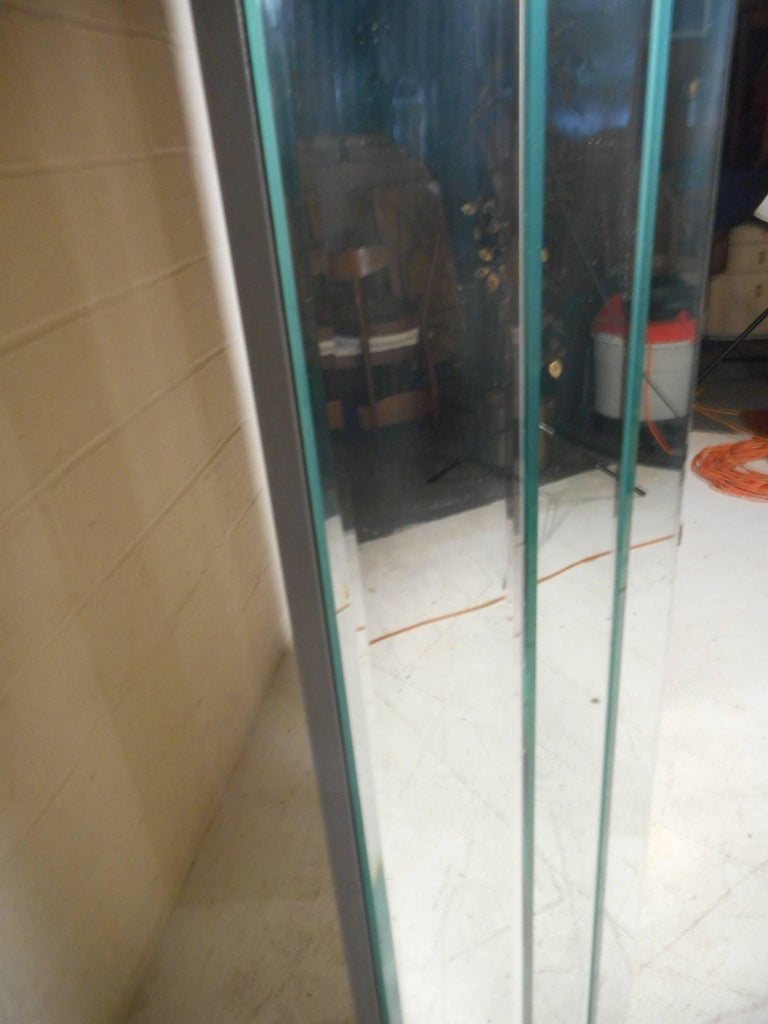 Stunning Mid-Century Modern Four-Panel Mirrored Room Divider 8