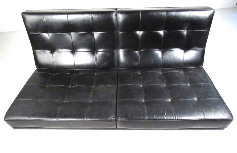 American Early Knoll Tufted Leather Armless Sofa For Sale