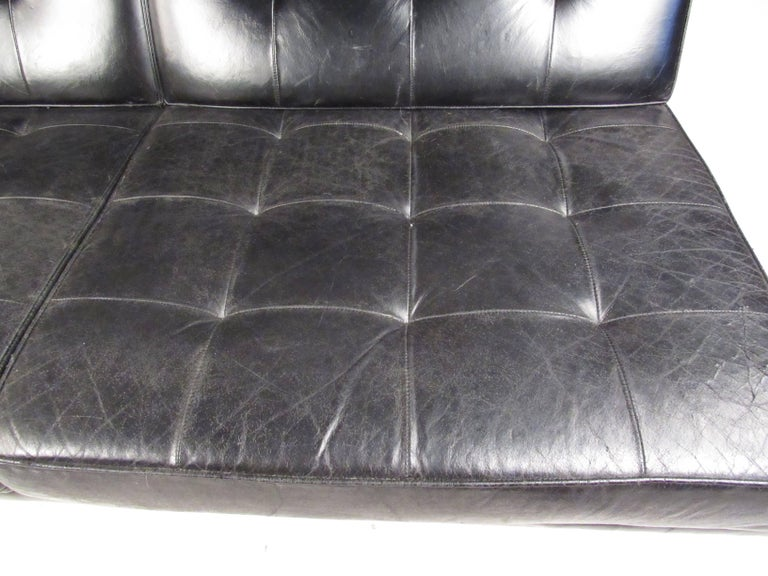 Mid-20th Century Early Knoll Tufted Leather Armless Sofa For Sale