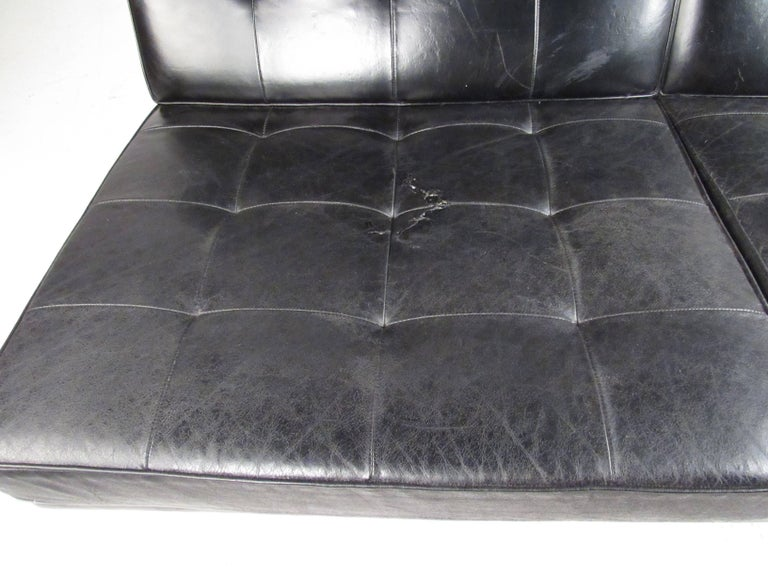 Early Knoll Tufted Leather Armless Sofa For Sale 1