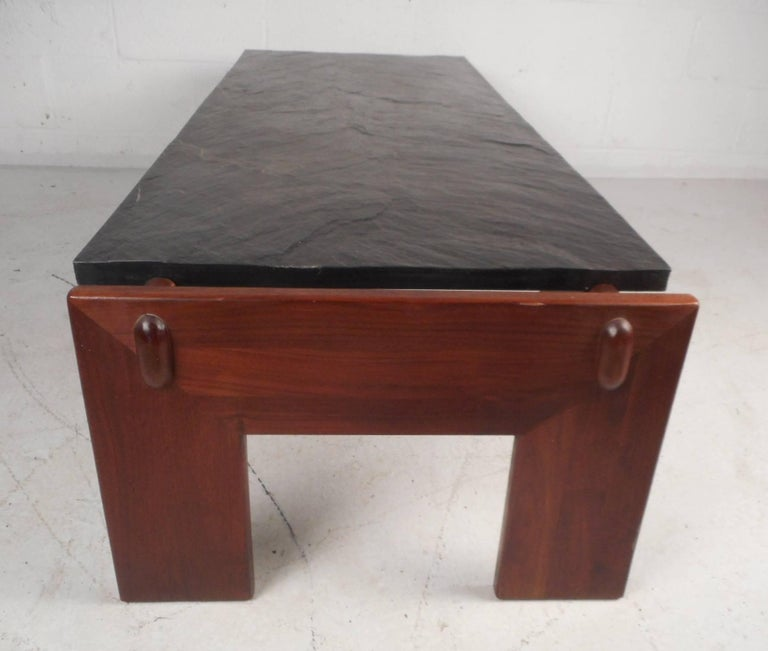 Mid century modern slate top brutalist coffee table by adrian pearsall for sale at 1stdibs Slate top coffee tables