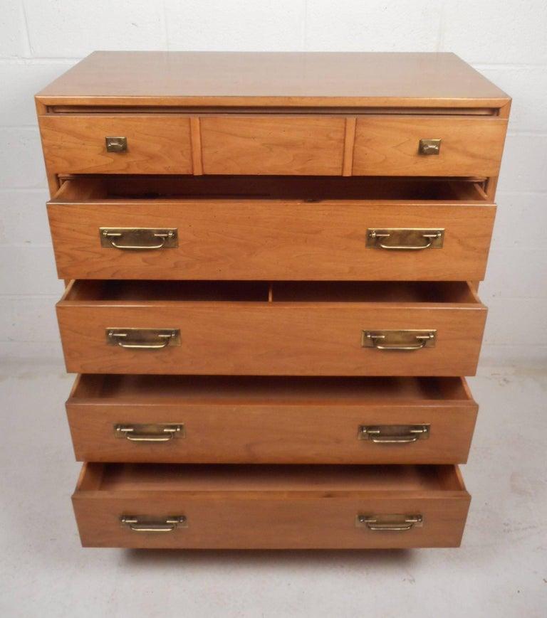 Late 20th Century Mid-Century Modern Walnut High Boy Dresser For Sale