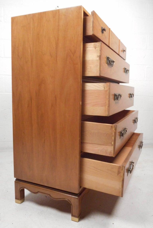 Brass Mid-Century Modern Walnut High Boy Dresser For Sale