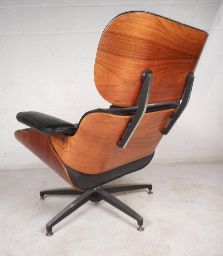 Mid Century Modern Eames Style Lounge Chair And Ottoman