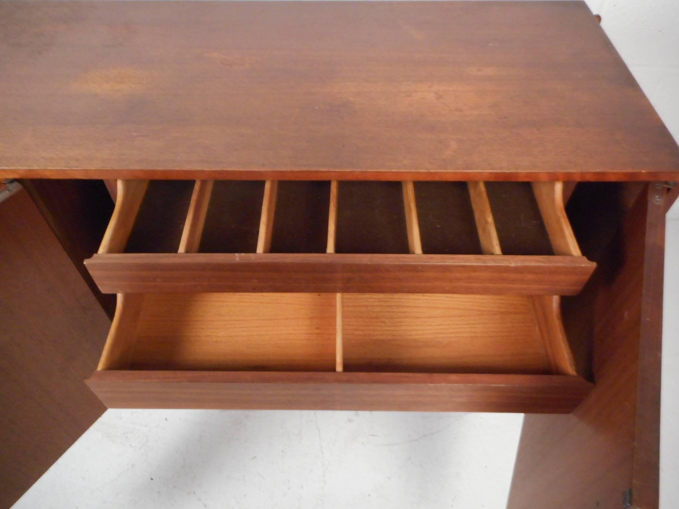 midcentury modern walnut credenza with rosewood inlays 3