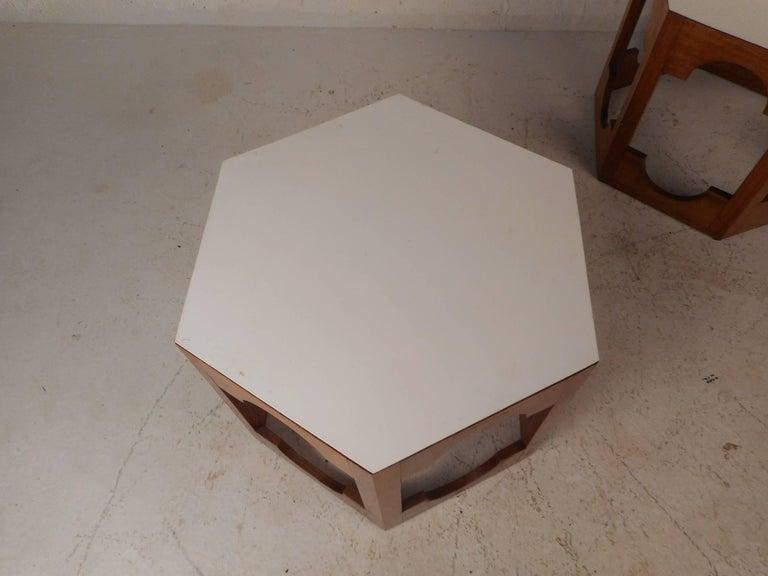 Laminate Pair of Mid-Century Modern Italian Hexagonal End Tables For Sale