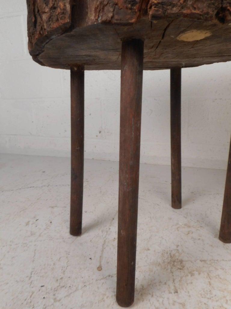 Mid-Century Modern Tree Slab End Table For Sale 1