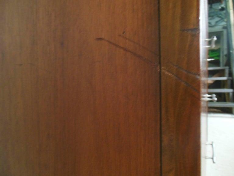 Metal Mid-Century Modern Walnut Highboy Dresser For Sale