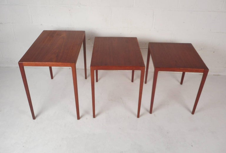 Late 20th Century Set of Three Mid-Century Modern Danish Teak Nesting Tables by Ludvig Pontoppidan For Sale