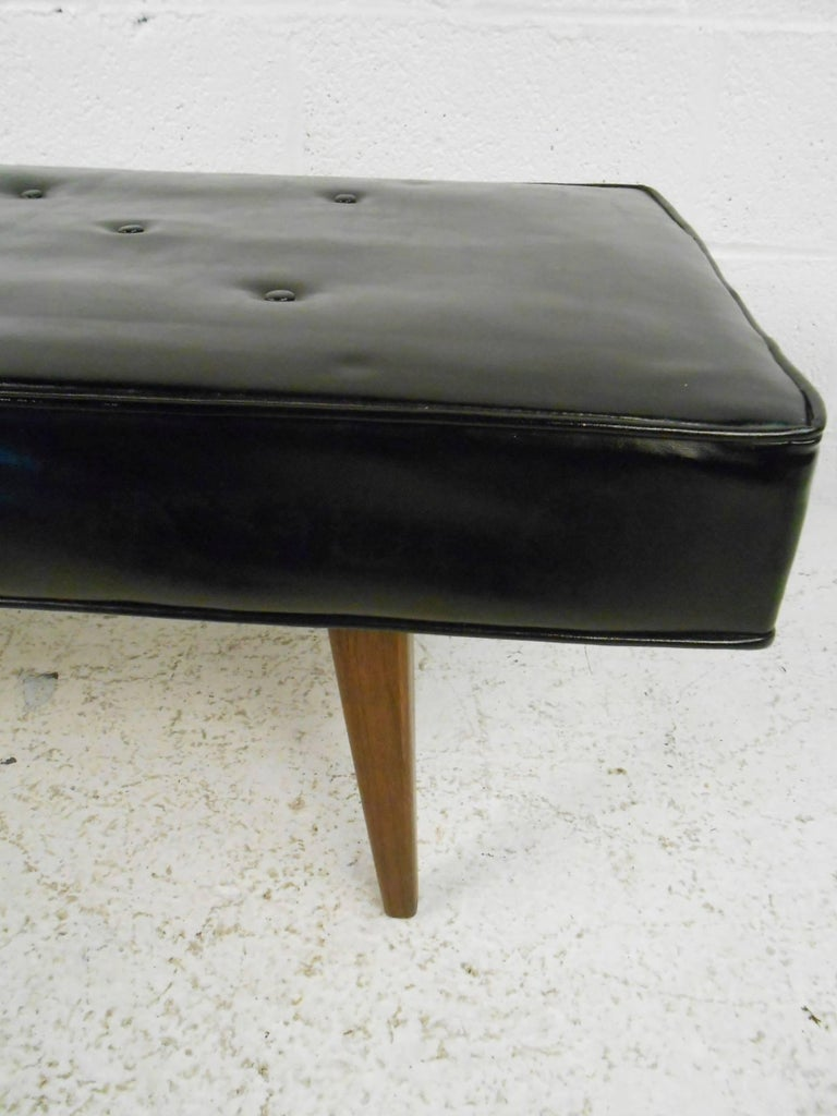 Mid Century Modern Tufted Vinyl Bench By Surgical