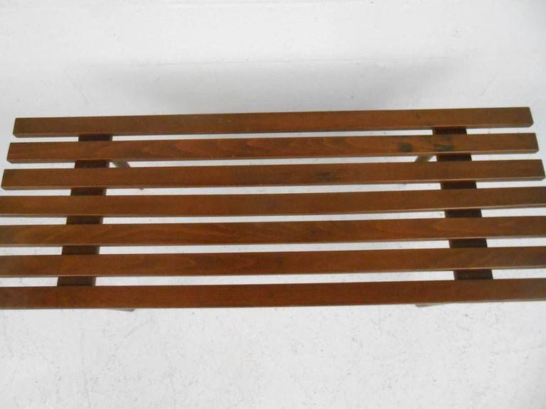 Late 20th Century Mid-Century Modern Walnut Slat Bench For Sale