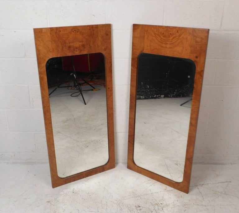 American Pair of Mid-Century Modern Burl Mirrors by Lane Furniture For Sale