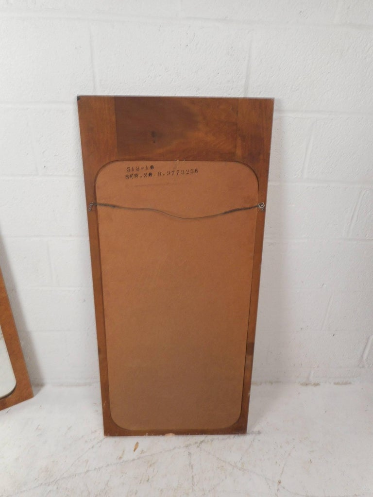 Pair of Mid-Century Modern Burl Mirrors by Lane Furniture For Sale 1