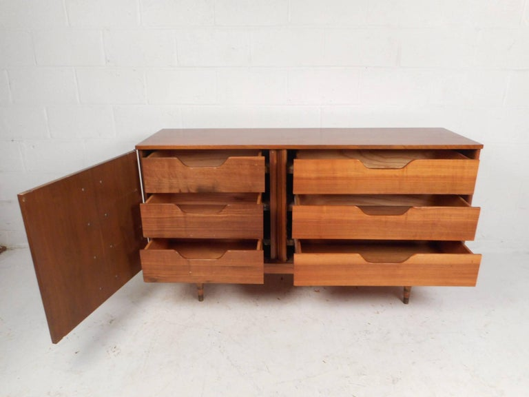 Late 20th Century Compact Mid-Century Modern Credenza with a Tambour Door For Sale