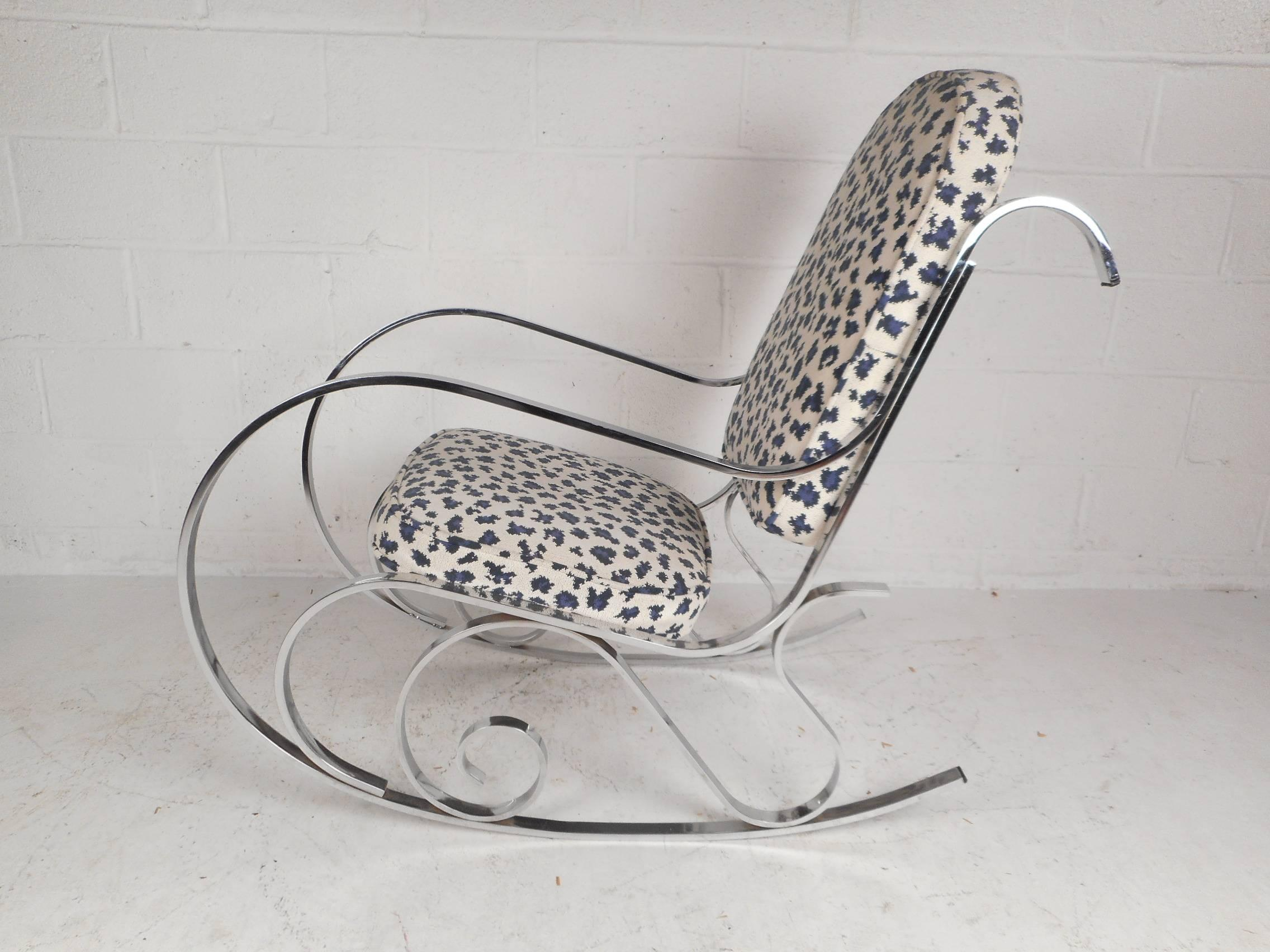 Great Mid Century Modern French Rocking Chair With A Chrome Base In Good  Condition For Sale