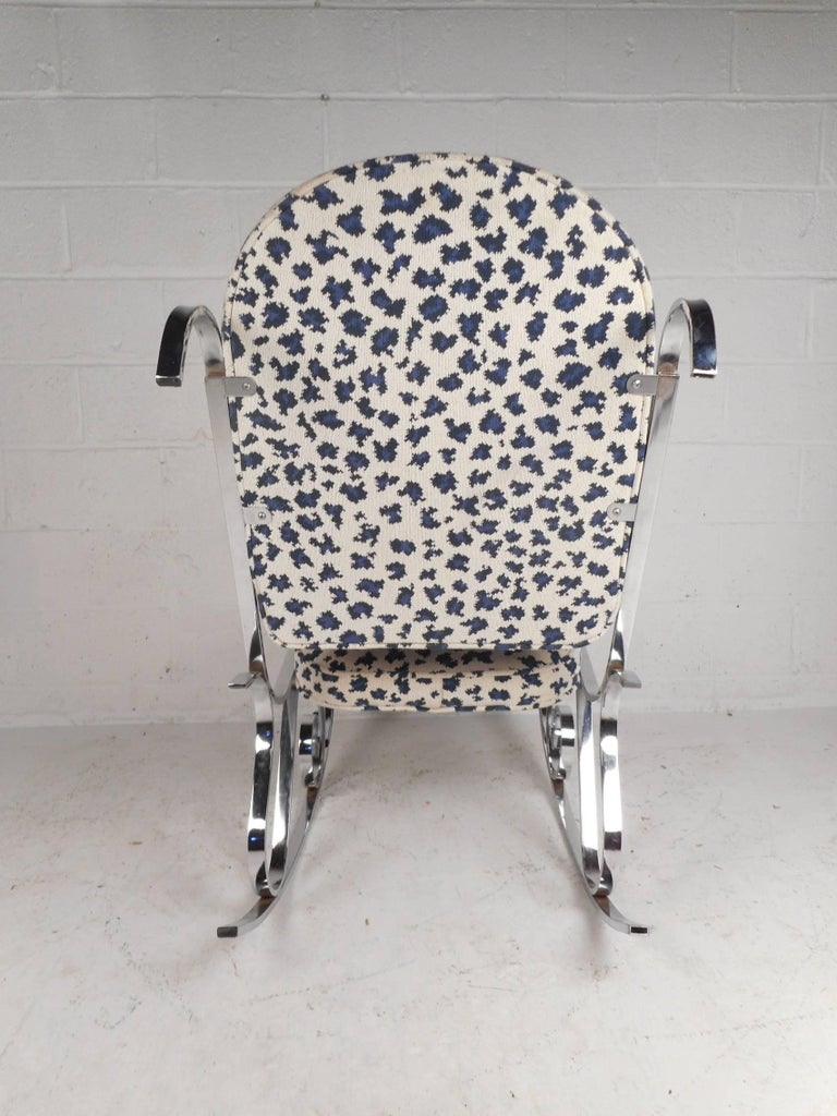 Upholstery Mid-Century Modern French Rocking Chair with a Chrome Base For Sale