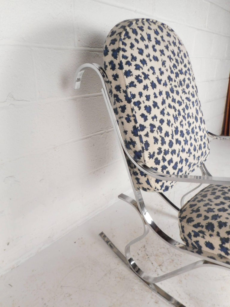 Mid-Century Modern French Rocking Chair with a Chrome Base For Sale 2