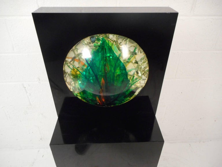 Crystal Mid-Century Modern Sculpture Art Signed M. Blaine For Sale