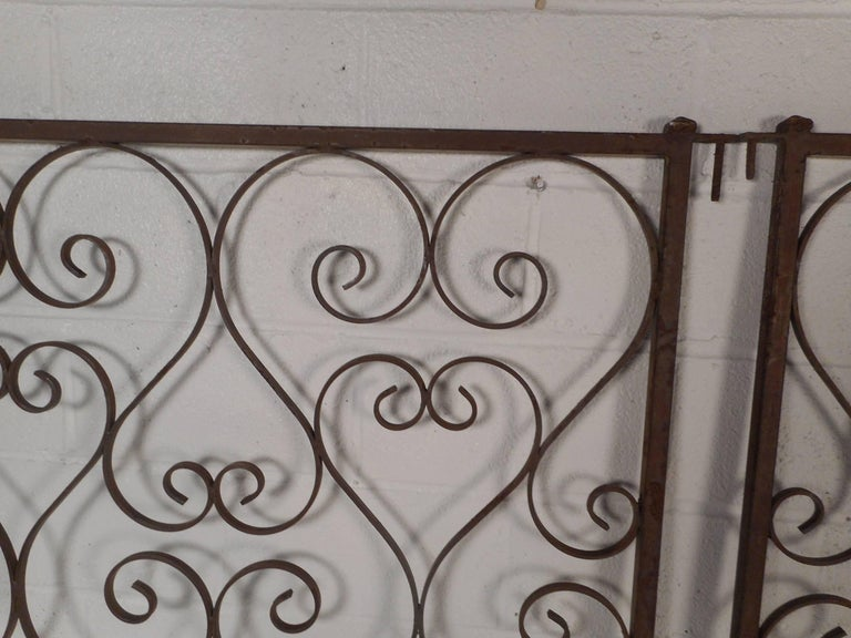 Mid-Century Modern Pair of Vintage Iron Sculpted Gates For Sale