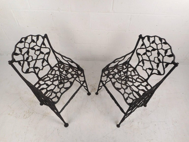 Victorian Rare Pair of Vintage Cast Iron Chairs by Fiske For Sale