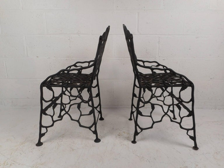 Rare Pair of Vintage Cast Iron Chairs by Fiske In Good Condition For Sale In Brooklyn, NY
