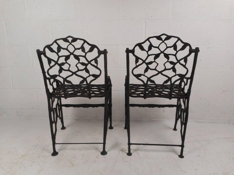 20th Century Rare Pair of Vintage Cast Iron Chairs by Fiske For Sale