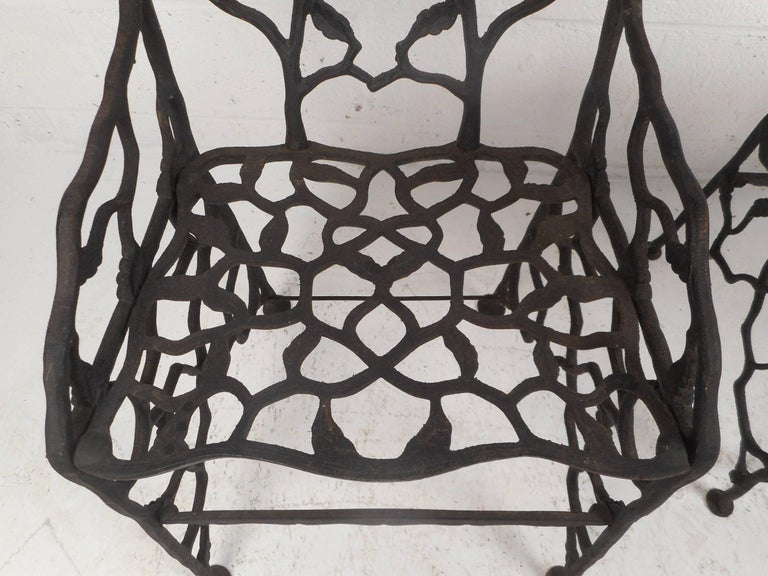 Rare Pair of Vintage Cast Iron Chairs by Fiske For Sale 1