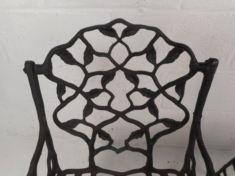 Rare Pair of Vintage Cast Iron Chairs by Fiske For Sale 2