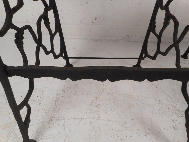 Rare Pair of Vintage Cast Iron Chairs by Fiske For Sale 4