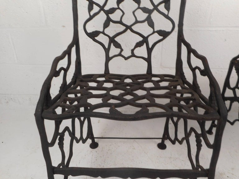 Rare Pair of Vintage Cast Iron Chairs by Fiske For Sale 5