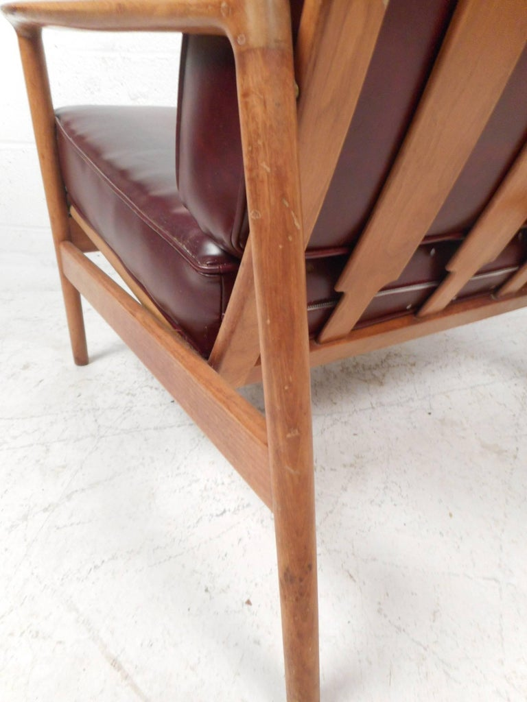 Faux Leather Mid-Century Modern Danish Teak Lounge Chair For Sale