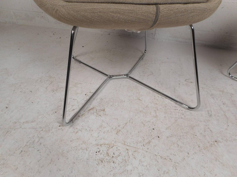 Metal Pair of Mid-Century Style High back Lounge Chairs For Sale