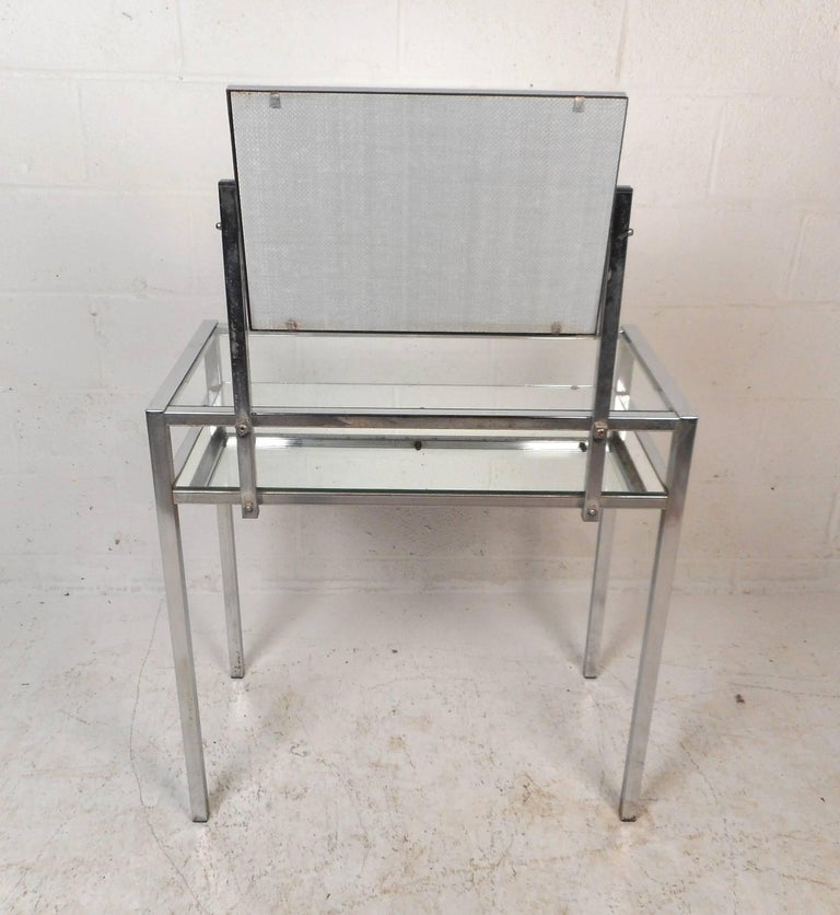 Glass Mid-Century Modern Two-Tier Chrome Vanity For Sale