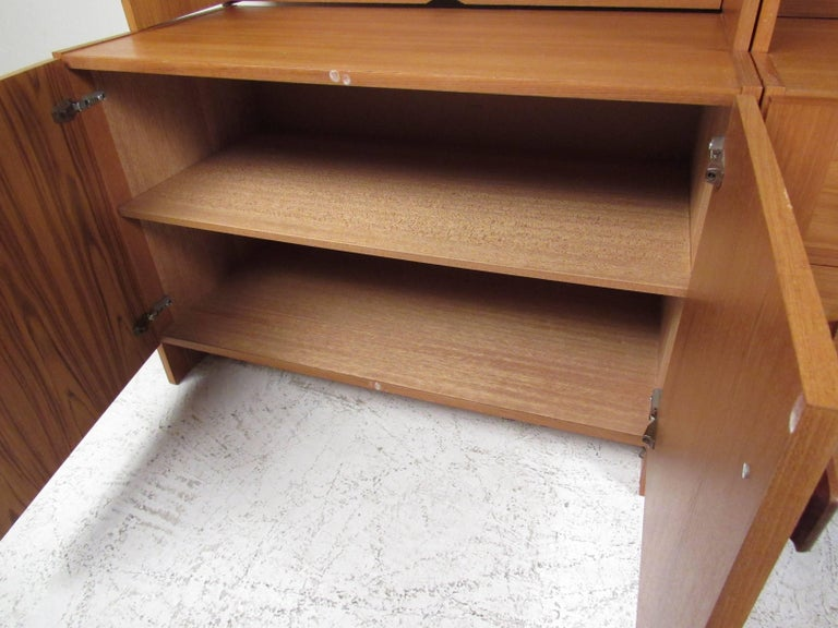 Scandinavian Modern Teak Wall Unit  In Good Condition For Sale In Brooklyn, NY