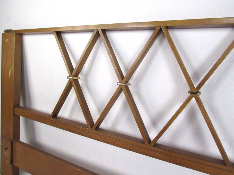 Mid-Century Modern Paul Frankl Queen-Size Mahogany and Brass Headboard For Sale